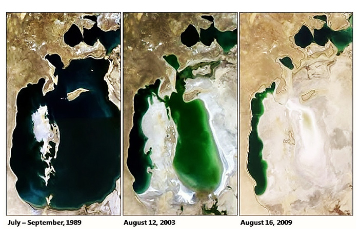 Aral sea - in the 60's it was still the fourth largest lake in the world and the economic, ecological and social blessing from God