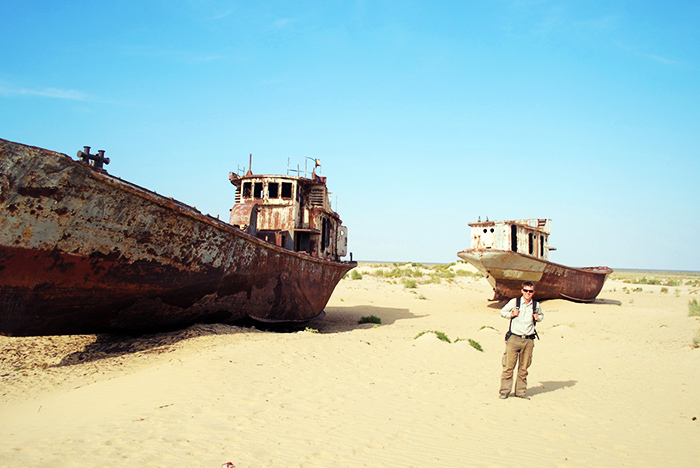 Boats on the sand in Moynaq (Uzbekistan), at the bottom of the former Aral Sea.