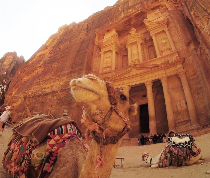 Jordania - futrzasty model pozujący do zdjęcia przed skarbnicą. W Petrze znajduje się wiele świątyń zbudowanych w ścianach skał.