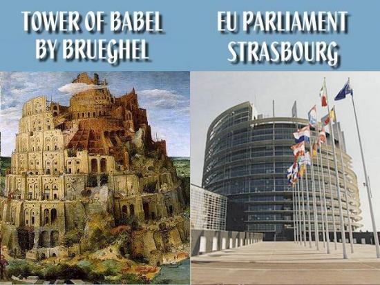Wieża Babel oraz łudząco podobny do niej Europejski Parlament.